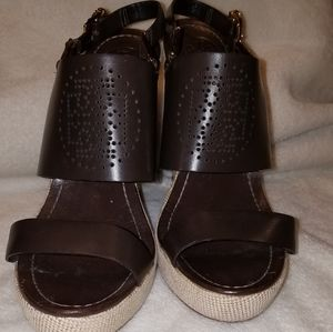 Tory Burch brown leather espadrilles size 10.5